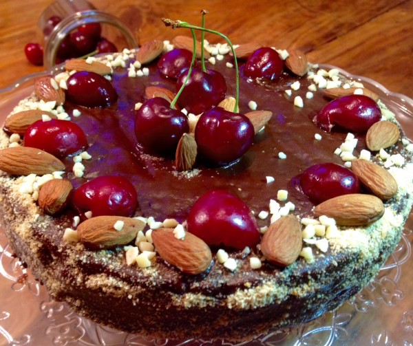 Chocolate Almond and Cherry Rum Cake